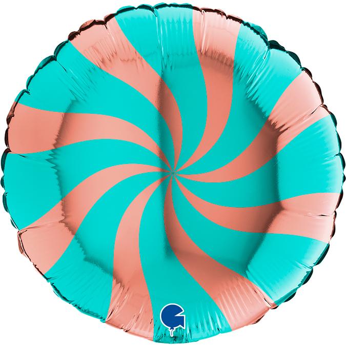 Фольгированный шар круг , Леденец, Розовое золото/Тиффани 46 см