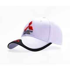 Кепка с вышитым логотипом Митсубиси Моторс (Бейсболка Mitsubishi Motors) белая