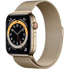 Часы Apple Watch Series 6 GPS + Cellular 44mm Stainless Steel Case with Milanese Loop Gold (Золотистый) (M07P3,M09G3)