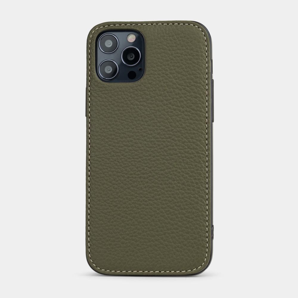 Чехол-накладка для iPhone 12/12Pro из натуральной кожи теленка, зеленого цвета