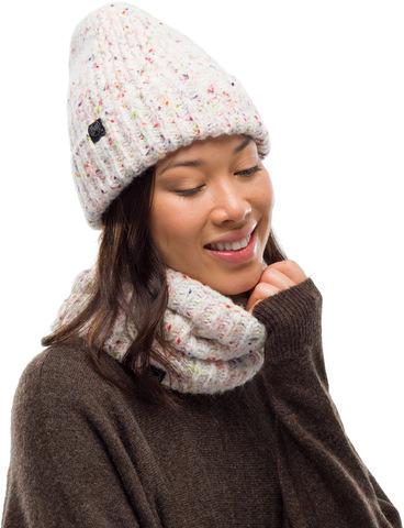 Комплект шапка шарф вязаный с флисом Buff Kim White фото 1