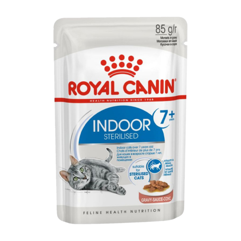 Royal Canin Indoor Sterilised 7+ years Консервы для стареющих кошек постоянно живущих в помещении ( кусочки в соусе)
