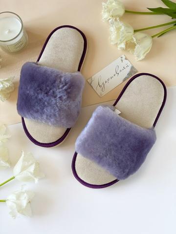 Меховые тапочки сиреневые с цельной шлейкой с текстильной стелькой бежевой