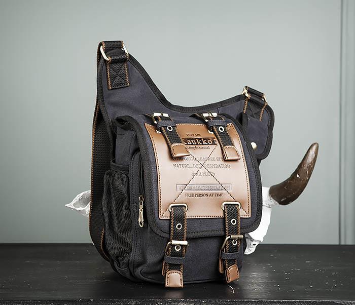 BAG307-1 Мужская сумка черного цвета из текстиля отличного качества фото 02