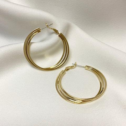 Серьги-конго тройное переплет кольца золотистые