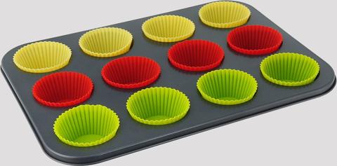 Форма для выпечки капкейков, кексов, маффинов + силиконовые формы, 35*26см, ячейка 5*7*2.5см