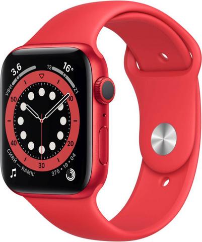 Умные часы Apple Watch Series 6, 44 мм, корпус из алюминия цвета (PRODUCT)RED, спортивный ремешок