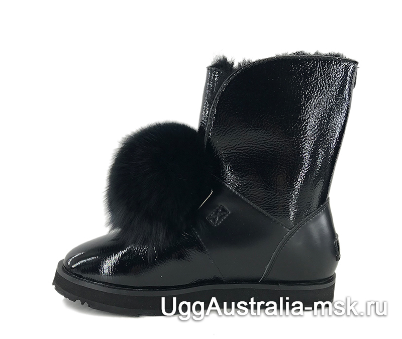 UGG Isley Patent Waterproof Boot Black