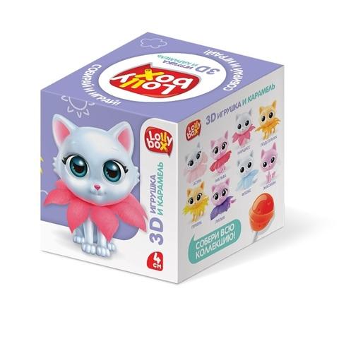 LOLLY BOX КотоСад Карамель на палочке с игрушкой в коробочке  1кор*12бл*10шт, 11,4 г