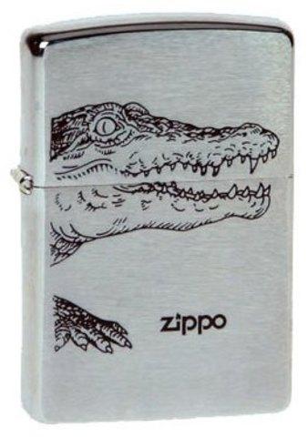 Зажигалка Zippo Alligator* с покрытием Brushed Chrome, латунь/сталь, серебристая, матовая, 36х12х56123