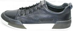 Синие кожаные кеды кроссовки демисезонные мужские Luciano Bellini C6401 TK Blue.