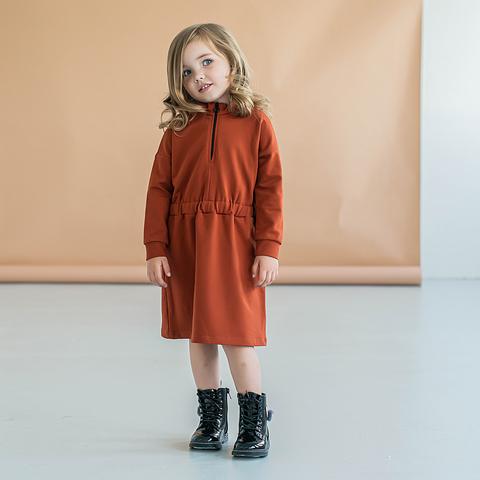 Sporty sweater dress - Terracotta