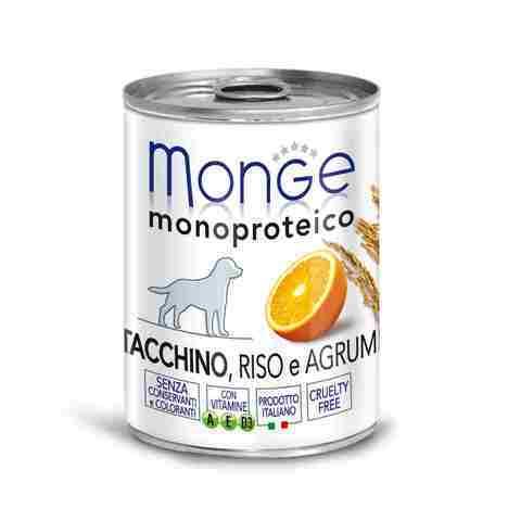 Купить Monge Monoprotein Fruits Turkey, Rice & Citrus Влажный монопротеиновый корм с индейкой, рисом и цитрусовыми для взрослых собак всех пород 400 гр