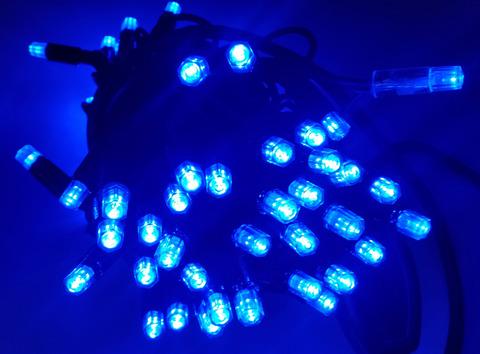 Светодиодная гирлянда уличная нить 8м 80LED цвет синий черный провод