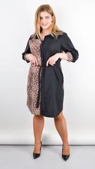 Сандал. Весняна сукня-сорочка великих розмірів. Леопард беж.