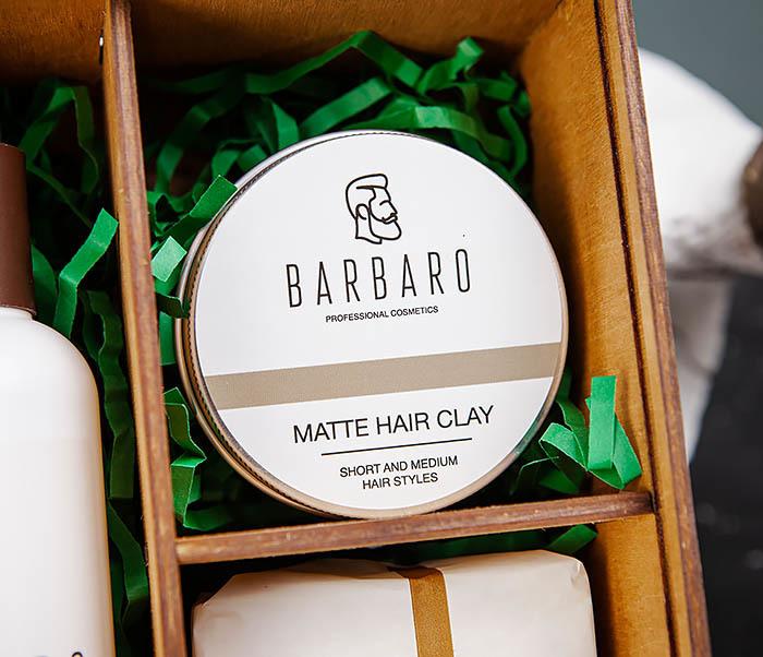 Набор средств «BARBARO» из шампуня, мыла для лица и глины для волос фото 02