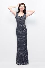 Sesilia 81400 длинное черное платье расшитое пайетками и бисером
