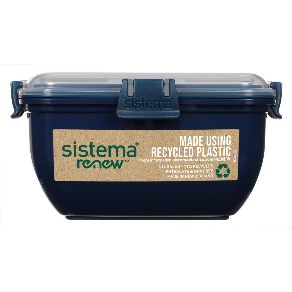 "Контейнер для салата с разделителями и приборами Sistema ""Renew"" 1,1л, цвет Синий"