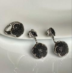 Серьги-трансформеры Bon Ton  из серебра с черными микроцирконами