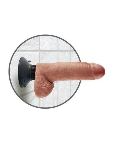 Вибромассажер-реалистик 3 в 1 на присоске загорелый King Cock 7 Vibrating Cock with Balls Tan