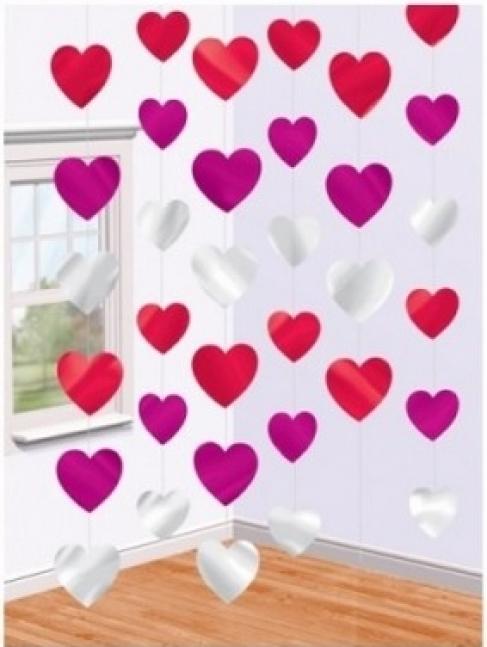 Гирлянда вертикальная Сердца разноцветные 2,1 м 6 шт