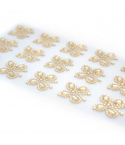 Стразы самоклеющиеся бабочки золотые светлые 15 шт