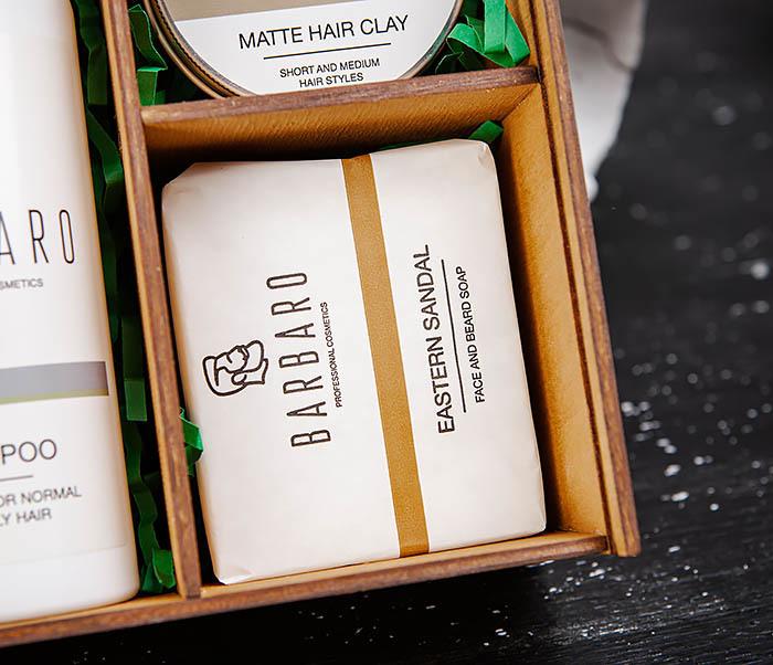 Набор средств «BARBARO» из шампуня, мыла для лица и глины для волос фото 03