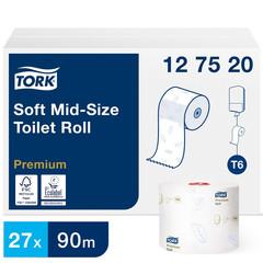 Бумага туалетная в рулонах Tork Premium Т6 2-слойная 27 рулонов по 90 метров (артикул производителя 127520)