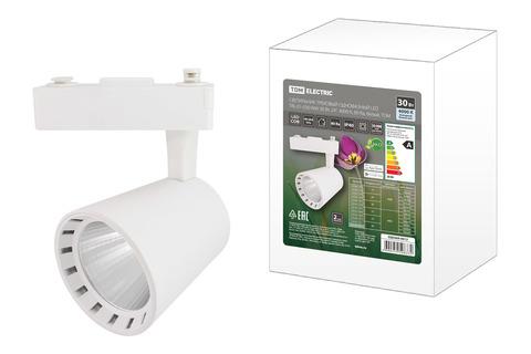 Светильник трековый однофазный LED TRL-01-030-NW 30 Вт, 24°, 4000 К, 80 Ra, белый, TDM