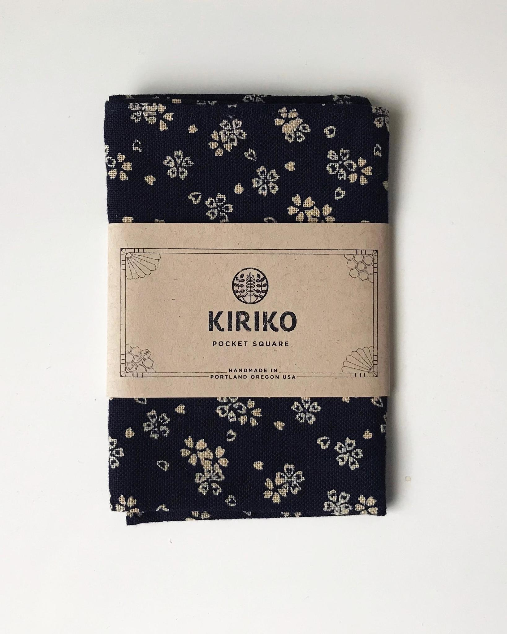 Kiriko Pocket Square Navy Sakura Floral