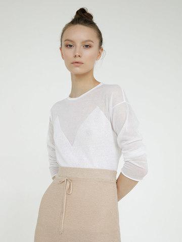 Женский джемпер белого цвета с фигурным лифом - фото 2