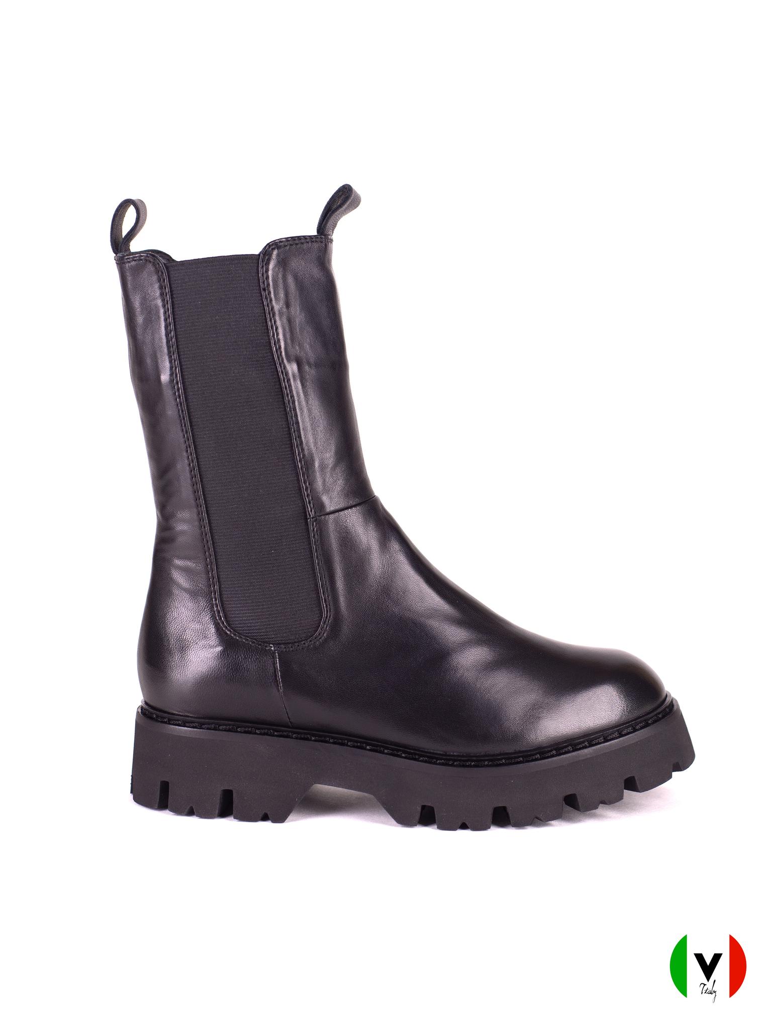 зимние высокие ботинки челси Fru.it с резиновыми вставками, черные, кожаные, артикул 6538,