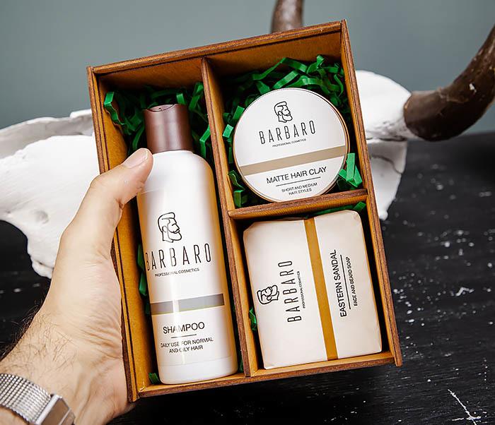 Набор средств «BARBARO» из шампуня, мыла для лица и глины для волос фото 05