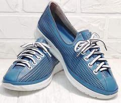 Модные сникерсы кроссовки для девушек летние смарт casual Wollen P029-2096-24 Blue White.