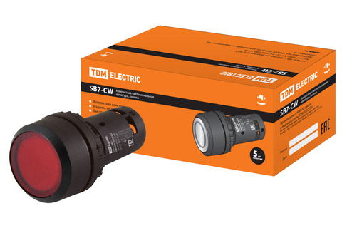 Кнопка SB7-CW3462-220V(LED) d22мм, 1р красная TDM