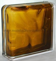 Завершающий стеклоблок бронзовый волна окрашенный изнутри Vitrablok 19x19x8