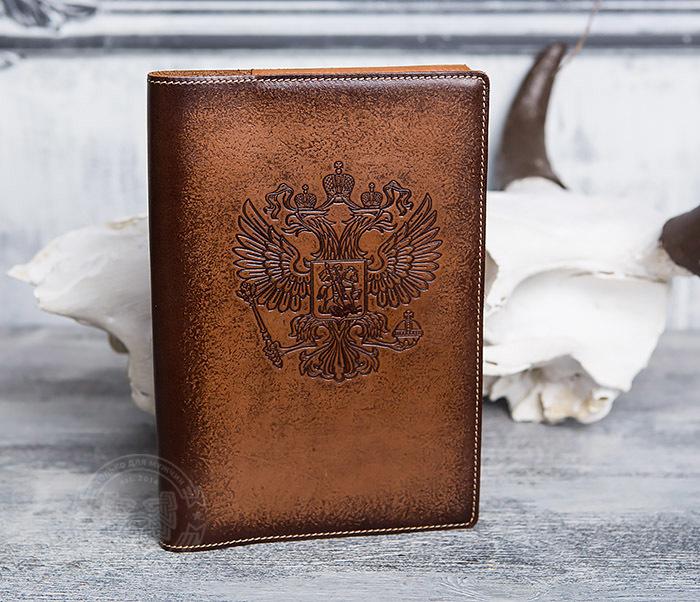 BY05-02-01 Подарочный кожаный ежедневник с гербом РФ, тиснение