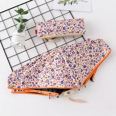 Японский плоский маленький зонт фирмы Yoco с защитой от солнца (оранжевый с цветочным принтом)