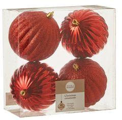 Набор шаров 4шт 10см House of Seasons красный
