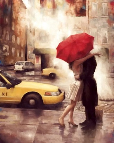 Алмазная Мозаика 40x50 Встреча под зонтом у такси