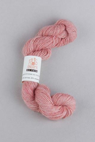 Пряжа из ангоры и мериноса 80/20%, цвет розовый меланж