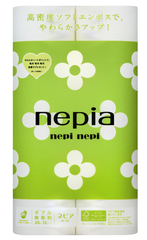 Бумага туалетная двухслойная, NEPIA, nepi nepi, без аромата, 25 м, 12 рулонов