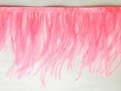 Тесьма  из перьев страуса h 10-15 см., розовый