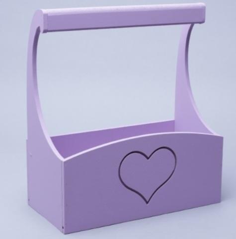 Ящик деревянный с ручкой (размер: 25х12,5х10 h25см) Сердце сиреневый