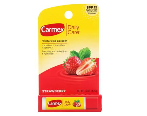 Carmex, Ежедневный бальзам для губ, клубника, ФЗС 15, 4,25 г США