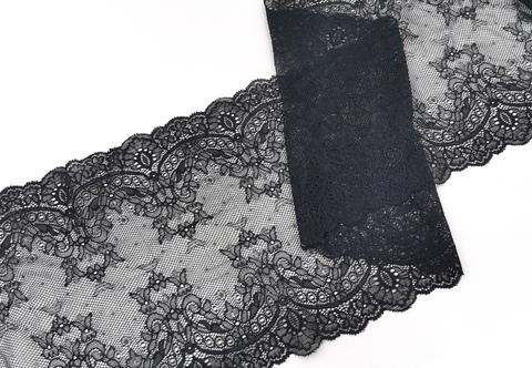 Эластичное кружево, 22 см, черное, (Арт: EK-2218), м