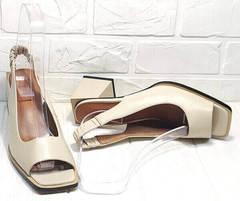 Туфли с квадратным мысом. Босоножки летние Brocoli H150-9137-2234 Cream.