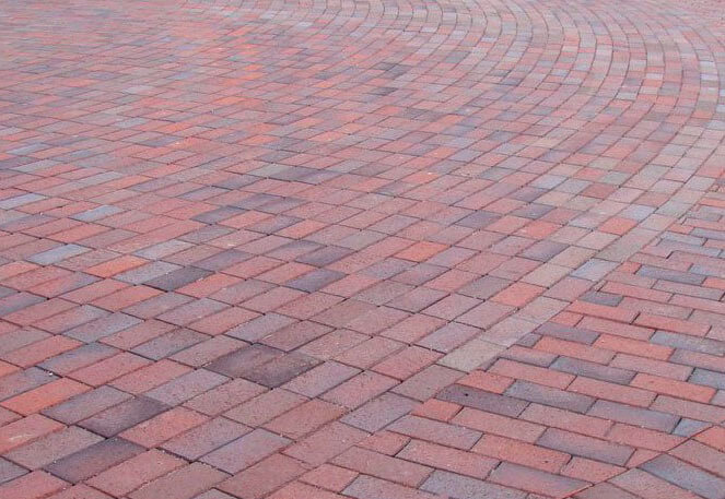 Feldhaus Klinker - P405DF, Gala alea, красный пестрый, с фиолетовым нагаром, с оттенками, 240x118x52 - Клинкерная тротуарная брусчатка