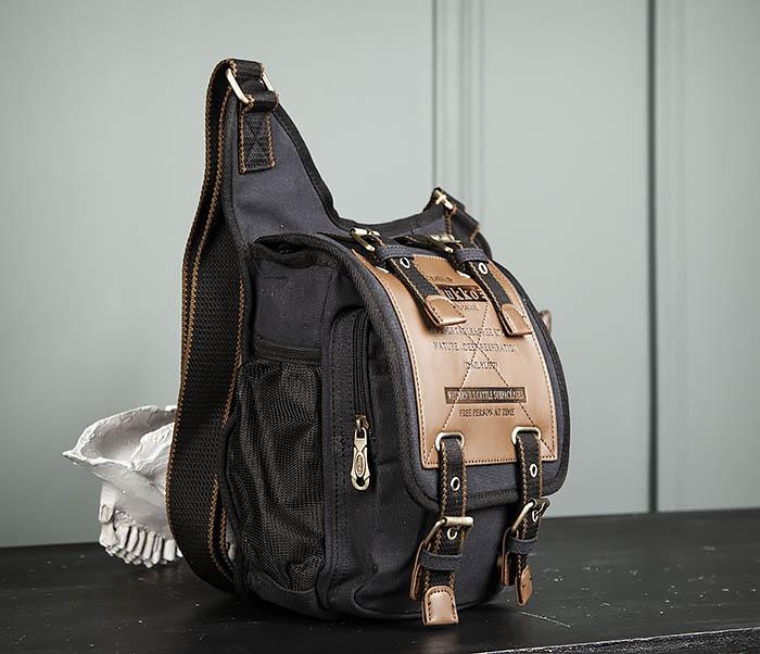 BAG307-1 Мужская сумка черного цвета из текстиля отличного качества фото 03