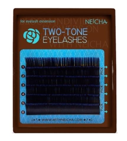 Ресницы двухцветные NEICHA Black-Blue MINI 6 линий C 0,10 MIX  9.1 (9,11,13)